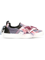 Msgm Fringed Applique Slip On Sneakers Pink And Purple