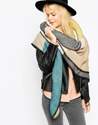 Asos Oversized Square Scarf In Pastel Block Colour With Blanket Stitch Multi