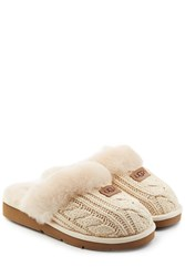 Ugg Australia Cozy Knit Slippers With Wool And Sheepskin Beige