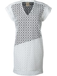 Nude Textured Party Dress White