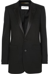 Saint Laurent Satin Trimmed Wool Crepe Tuxedo Blazer Black