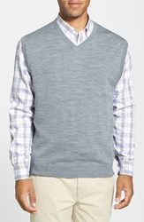 Men's Cutter And Buck 'Douglas' Merino Wool Blend V Neck Sweater Vest Mid Grey Heather