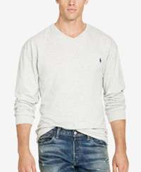 Polo Ralph Lauren Men's Big And Tall Jersey V Neck T Shirt Lawrence Grey