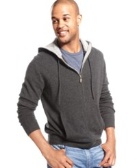 Club Room Wool Cashmere Blend Full Zip Solid Hoodie Dark Charcoal Heather