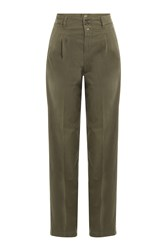 Closed Stretch Cotton High Waisted Chinos Green