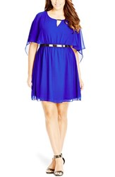 Plus Size Women's City Chic Belted Capelet Dress