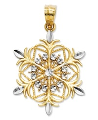 Macy's 14K Gold And Sterling Silver Charm Snowflake Charm