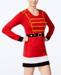 Planet Gold Juniors' Nutcracker Holiday Sweater Dress Red