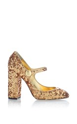 Dolce And Gabbana Sequin Mary Jane Pump Gold