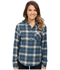 Pendleton Petite Frankie Flannel Shirt Night Sky Heather Plaid Women's Long Sleeve Pullover Blue
