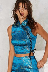 Nasty Gal Jacquard Core Lace Up Top