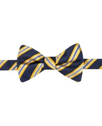 Countess Mara Men's Eugene Reversible Stripe Dot Pre Tied Bow Tie Navy Yellow