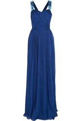 Matthew Williamson Palmeraie Embellished Silk Chiffon Gown Blue