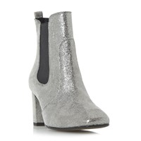 Dune Parade Square Toe Mid Heel Chelsea Boots Silver