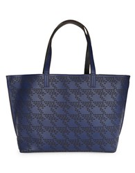 Echo Laser Cut Houndstooth Tote Navy Blue Black
