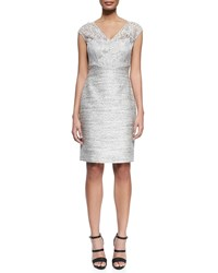 Kay Unger New York Cocktail Dress With Beaded Lace Bodice Blue Grey