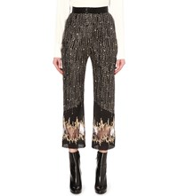 Rodarte Embroidered Silk Trousers Black And Gold