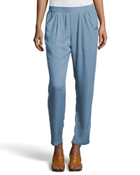 Greylin Woven Pleat Front Tapered Pants Blue