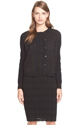 Tory Burch Lace Front Merino Wool Cardigan Black