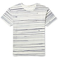 Nudie Jeans Rain Striped Slub Cotton Jersey T Shirt Neutrals