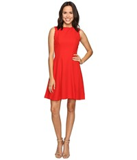 Christin Michaels Keira Fit And Flare Dress With Whipstitch Detail Red Women's Dress
