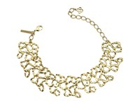 Oscar De La Renta Textured Chain Link Choker With Small Taffeta Bow Necklace Gold Black Necklace