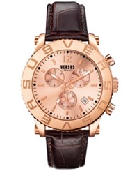 Versus By Versace Men's Chronograph Madison Brown Leather Strap Watch 42Mm Soh090015 No Color