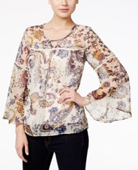 Styleandco. Style Co. Bell Sleeve Crochet Trim Printed Sheer Top Only At Macy's Floral Paisley White