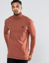 Criminal Damage Long Sleeve Roll Neck T Shirt Orange
