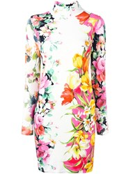 Blumarine Floral Print Mock Neck Dress White