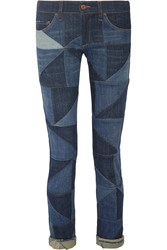 Etoile Isabel Marant Drappy Patchwork Low Rise Skinny Jeans Blue