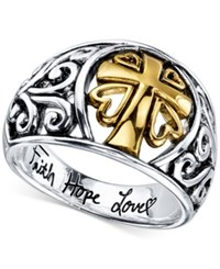 Unwritten Two Tone Cross 'Faith Hope Love' Ring In Sterling Silver And Gold Plated Sterling Silver