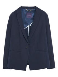 Violeta By Mango Cotton Blazer Navy