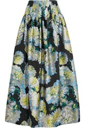 Adam By Adam Lippes Adam Lippes Pleated Floral Jacquard Maxi Skirt Blue