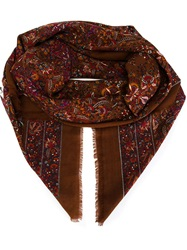 Yves Saint Laurent Vintage Long Paisley Print Scarf Multicolour