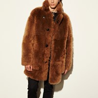 Coach Toy Soldier Shearling Pieced Coat Mahogany
