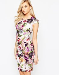Jessica Wright Eden Pencil Dress With Ruched Waist Detail Multi