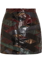 Emilio Pucci Patchwork Python And Metallic Leather Mini Skirt Burgundy