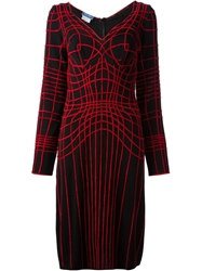 Thierry Mugler Vintage Web Embroidered Dress Black