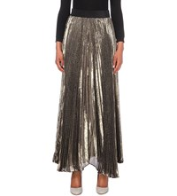 Alice Olivia Katz Pleated Silk Blend Maxi Skirt Gold Black