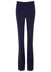 Victoria Beckham Navy Flared Wool Blend Trousers