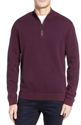 Tommy Bahama Men's Flip Side Reversible Quarter Zip Twill Pullover Rumberry Heather