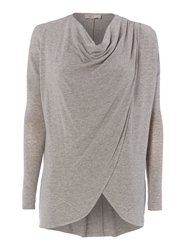 Label Lab Wrap Over Cowl Knit Jumper Oatmeal