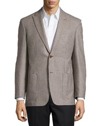 Ike Behar Houndstooth Sport Coat Tan Long