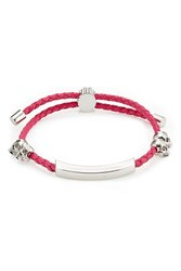 Alexander Mcqueen Leather Bracelet With Skull Motifs Pink