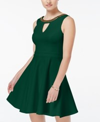 Xoxo Juniors' Beaded Fit And Flare Dress Green