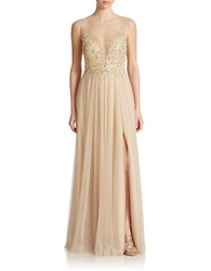 Basix Ii Sequined Illusion Front Gown Gold