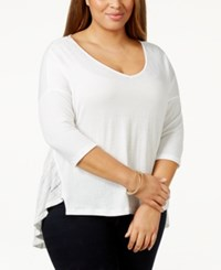 Jessica Simpson Plus Size V Neck High Low Sweater White