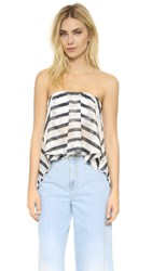 Nicholas Stripe Cascade Frill Bustier Top Black White Stripe