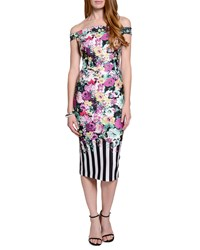 5Twelve Off The Shoulder Floral Print Midi Dress Black White Yellow